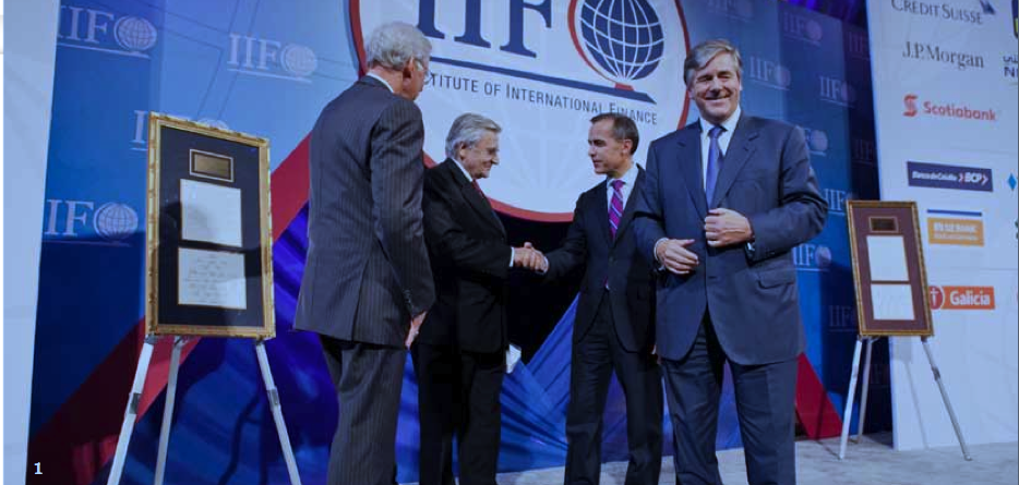 Left to right: Then-Managing Director of the IIF Charles Dallara, then-President of the European Central Bank Jean-Claude Trichet, then-Governor of the Bank of Canada and Chairman of the Financial Stability Board Mark Carney, then-CEO of Deutsche Bank and Chairman of the IIF Josef Ackermann